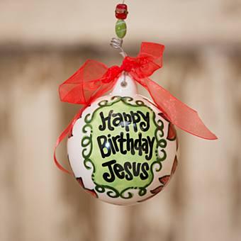 Happy Birthday Jesus Poinsettia Ornament